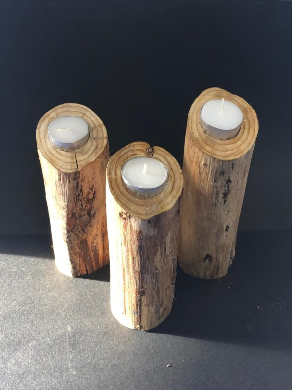 log candell holders